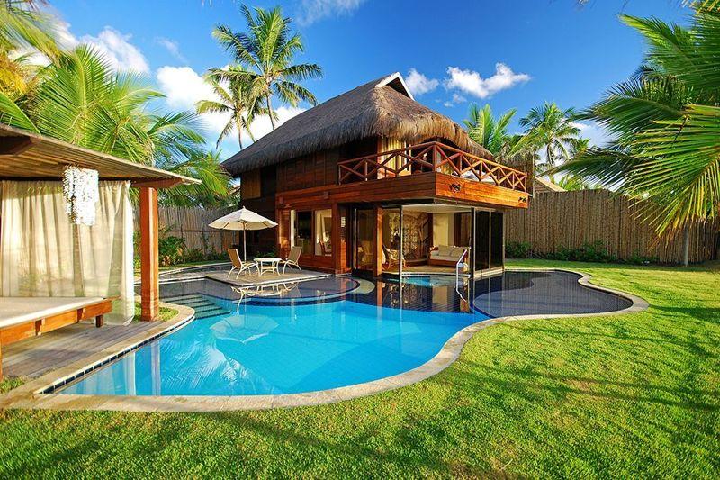 Vista bangalô proximo a praia com piscina particular